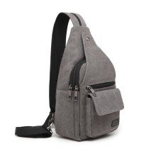 EQ2028 - Kono Casual Canvas Single Strap Sling Backpack - Grey