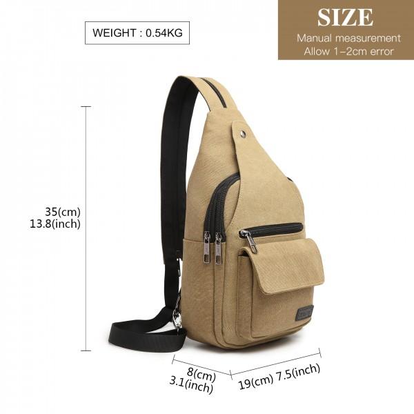EQ2028 - Kono Casual Canvas Single Strap Sling Backpack - Khaki