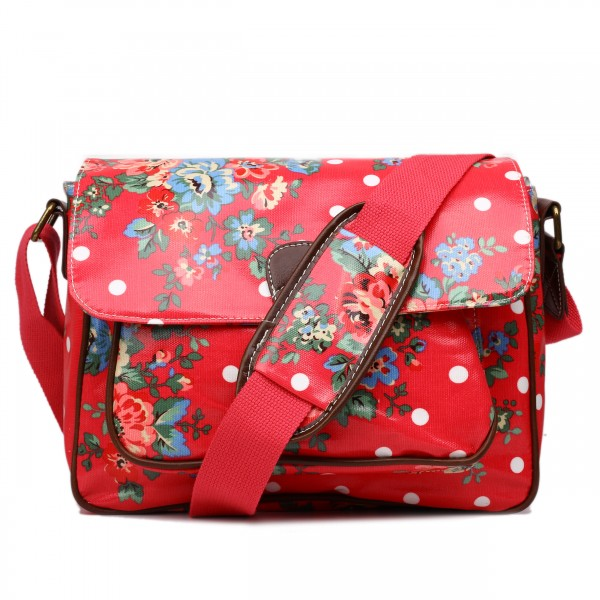 G1108F - Miss Lulu Oilcloth Medium Satchel Flower Polka Dot Plum