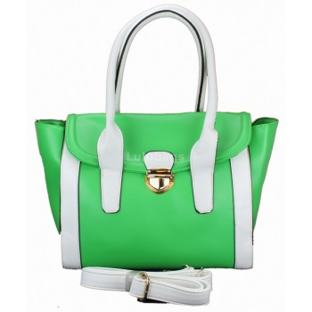 L1114 - Miss Lulu Leather Look Tote Handbag Green