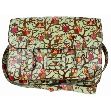 L1108W - Miss Lulu Oilcloth Large Satchel Owl Green