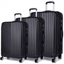 K1771L - Kono Hard Shell 3 Piece Luggage Set Black