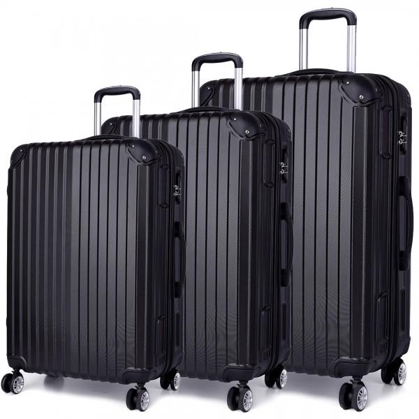 K1771L - Kono Hard Shell Suitcase 3 Piece Luggage Set Black