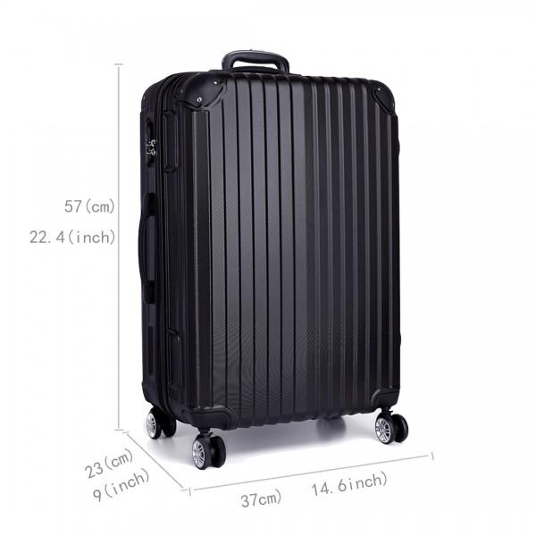 K1771L- KONO hard shell suitcase luggage set black 20 inch