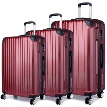 K1771L - Kono Hard Shell 3 Piece Luggage Set Burgundy