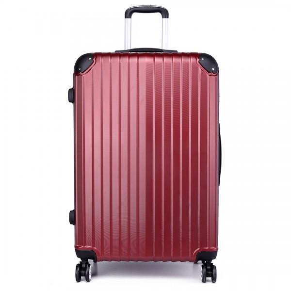 K1771L - Kono Hard Shell Suitcase 3 Piece Luggage Set Burgundy