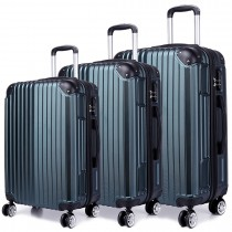 K1771L - Kono Hard Shell 3 Piece Luggage Set Green