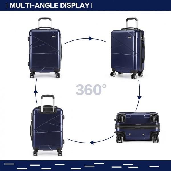 K1772-1L - Kono 24 Inch Bandage Effect Hard Shell Suitcase - Navy