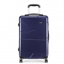 K1772-1L - Kono 20 Inch Bandage Effect Hard Shell Suitcase - Navy