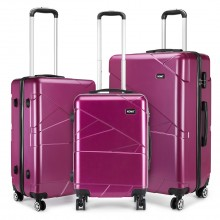 "K1772-1L - Kono 20-24-28"" Bandage Effect Hard Shell Suitcase - Purple"