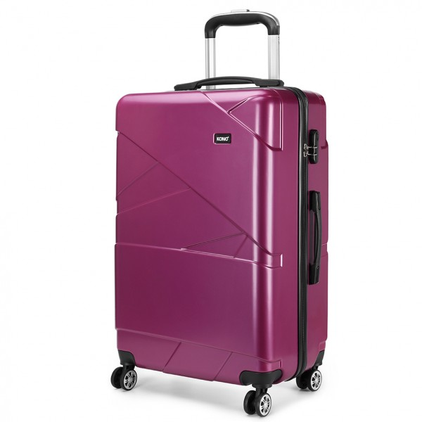 K1772-1L - Kono 20 Inch Bandage Effect Hard Shell Suitcase - Purple