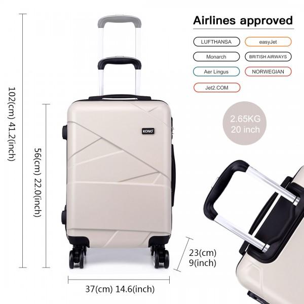 K1772-2L - Kono 20 Inch Bandage Effect Hard Shell Suitcase - Beige