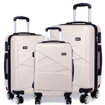 K1772-2L - Kono 20-24-28-8221; Bandage Effect Hard Shell Suitcase --Beige