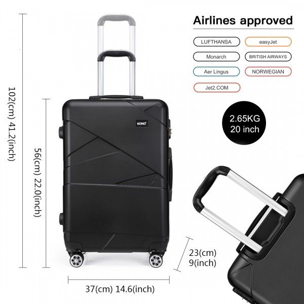 K1772-2L - Kono 20 Inch Bandage Effect Hard Shell Suitcase - Black