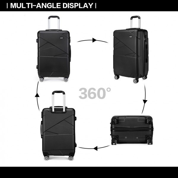 "K1772-2L - Kono 20-24-28"" Bandage Effect Hard Shell Suitcase - Black"