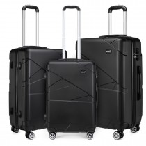 K1772-2L - Kono 20-24-28-821; Bandage Effect Hard Shell Suitcase --Black