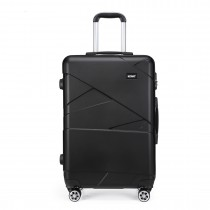 K1772-2L - Kono 28 Inch Bandage Effect Hard Shell Suitcase --Black