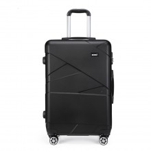 K1772-2L - Kono 28 Inch Bandage Effect Hard Shell Suitcase - Black
