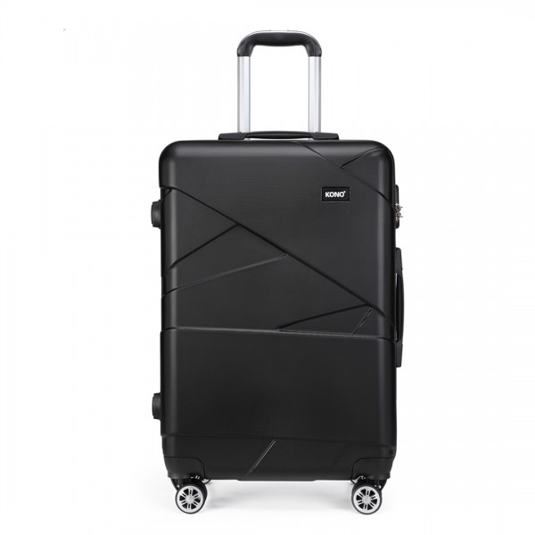 K1772-2L - Kono 24 Inch Bandage Effect Hard Shell Suitcase - Black