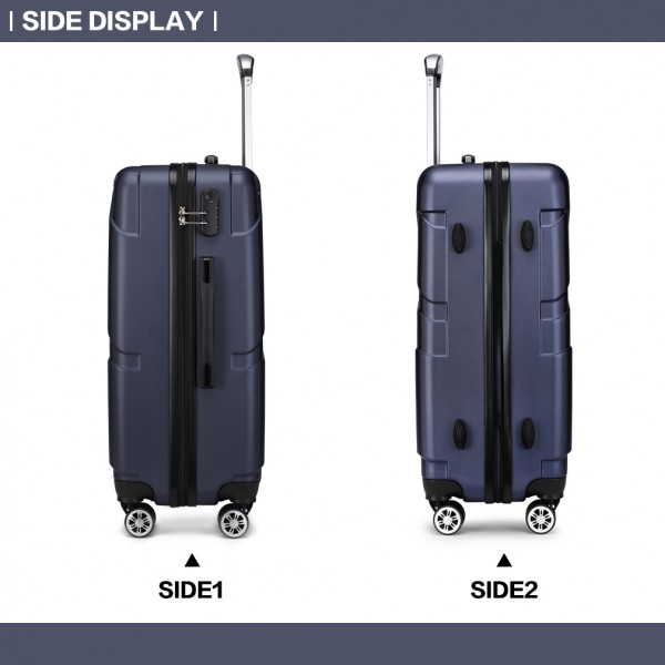 K1772-2L - Kono 28 Inch Bandage Effect Hard Shell Suitcase - Navy