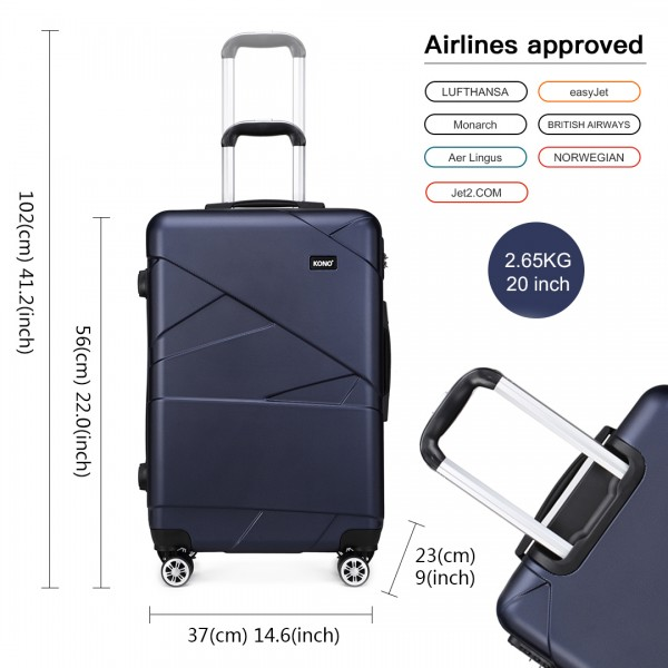 K1772-2L - Kono 20 Inch Bandage Effect Hard Shell Suitcase - Navy