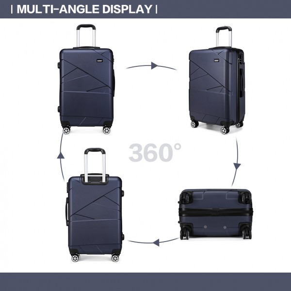 K1772-2L - Kono 24 Inch Bandage Effect Hard Shell Suitcase - Navy