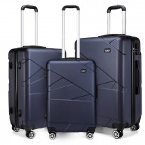K1772-2L - Kono 20-24-28-8221; Bandage Effect Hard Shell Suitcase --Navy