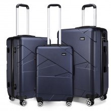 "K1772-2L - Kono 20-24-28"" Bandage Effect Hard Shell Suitcase - Navy"