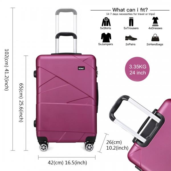 K1772-2L - Kono 24 Inch Bandage Effect Hard Shell Suitcase - Purple