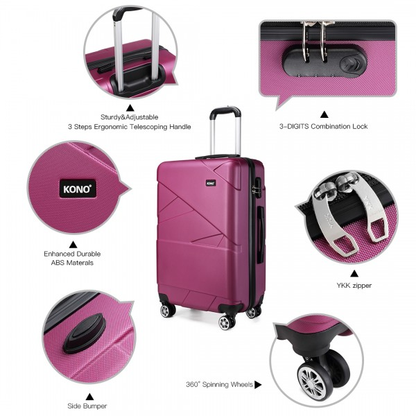 K1772-2L - Kono 20 Inch Bandage Effect Hard Shell Walizek - Purple