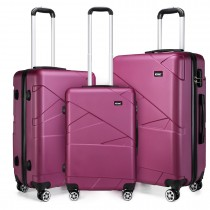 K1772-2L - Kono 20-24-28-8221; Bandage Effect Hard Shell Suitcase --Purple