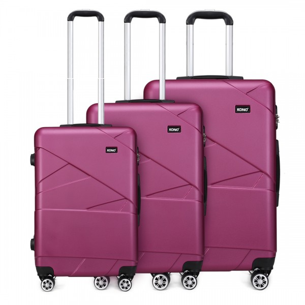 "K1772-2L - Kono 20-24-28"" Bandage Effect Hard Shell Suitcase - Purple"