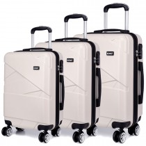 K1772L - Kono Bandage Effect Hard Shell 3 Piece Luggage Set Beige