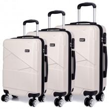 K1772L - Kono Bandage Effect Hard Shell Suitcase 3 Piece Luggage Set Beige