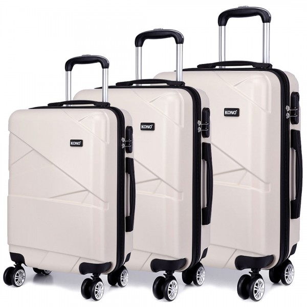 K1772L - Kono Bandage Effect Hard Shell Suitcase 3 Piece Luggage Set Beige