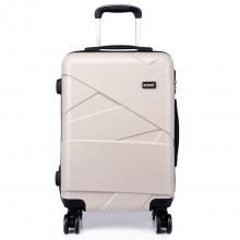 K1772L-Kono Bandage Effect Hard Shell Suitcase 20 Inch Luggage Set Beige