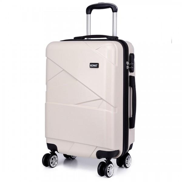 K1772L-Kono Bandage Effect Hard Shell Suitcase 28 Inch Luggage Set Beige