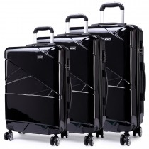 K1772L - Kono Bandage Effect Hard Shell Suitcase 3 Piece Luggage Set Black