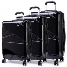 K1772L - Kono Bandage Effect Hard Shell Suitcase 3 Piece Luggage Set Black