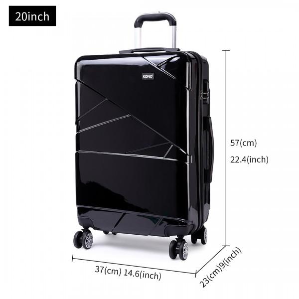 K1772L-Kono Bandage Effect Hard Shell Suitcase 20 Inch Luggage Set Black