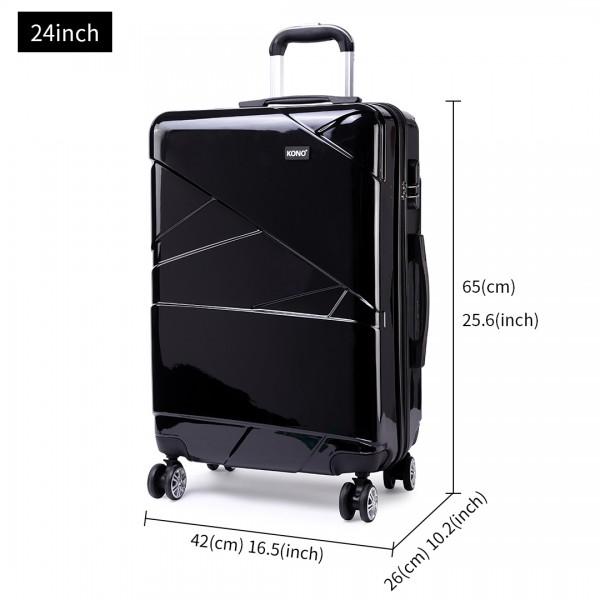 K1772L-Kono Bandage Effect Hard Shell Suitcase 24 Inch Luggage Set Black