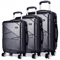K1772L - Kono Bandage Effect Hard Shell 3 Piece Luggage Set Grey
