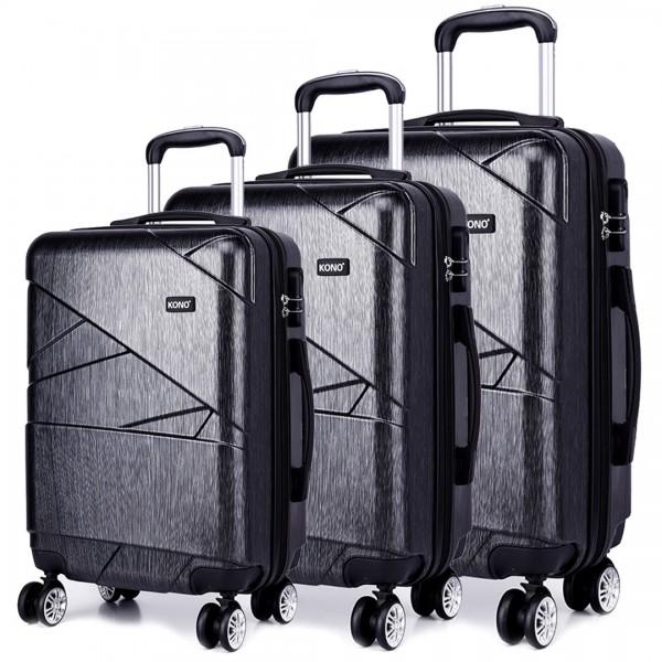 K1772L - Kono Bandage Effect Hard Shell Suitcase 3 Piece Luggage Set Grey
