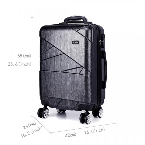 K1772L-Kono Bandage Effect Hard Shell Suitcase 24 Inch Luggage Set Grey