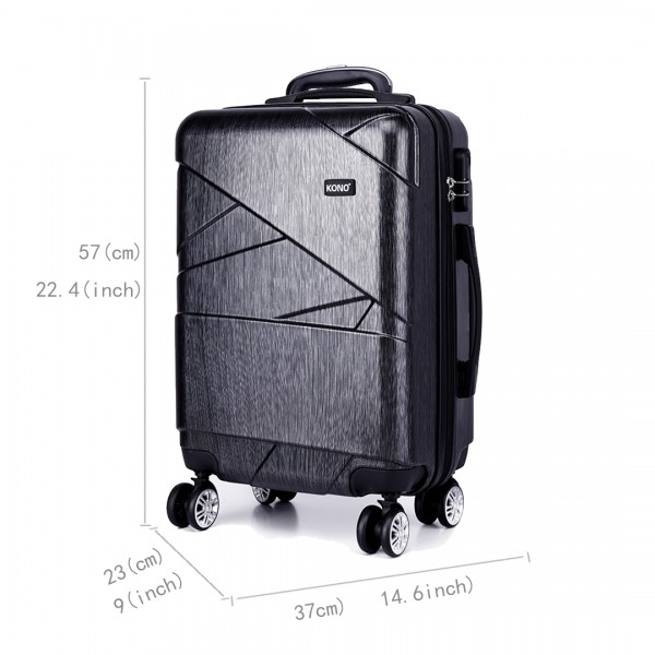 K1772L-Kono Bandage Effect Hard Shell Suitcase 20 Inch Luggage Set Grey