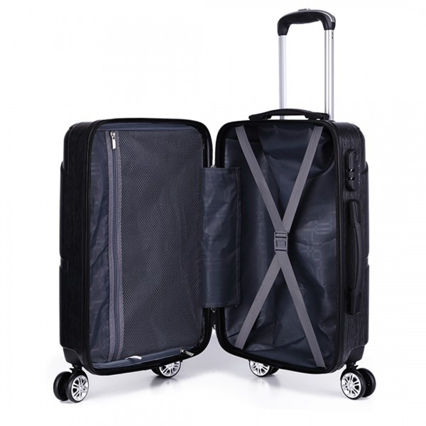 K1772L-Kono Bandage Effect Hard Shell Suitcase 28 Inch Luggage Set Grey