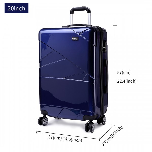 K1772L-Kono Bandage Effect Hard Shell Suitcase 20 Inch Luggage Set Navy