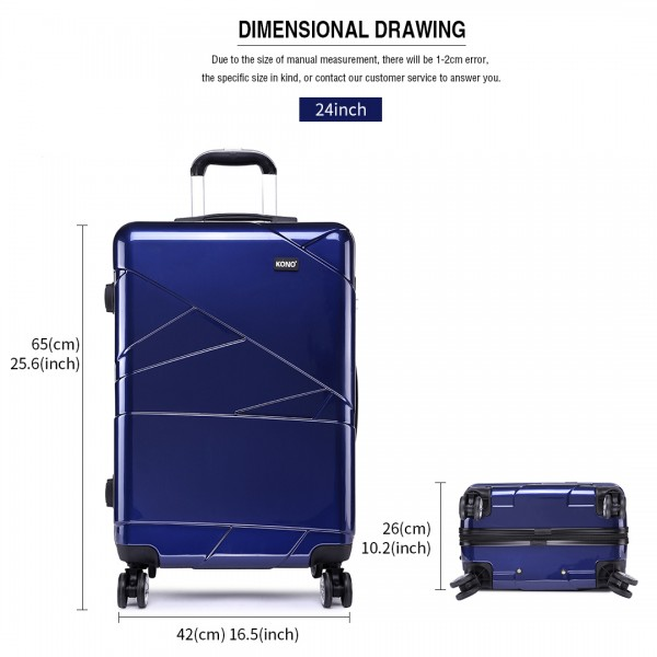 K1772L-Kono Bandage Effect Hard Shell Suitcase 24 Inch Luggage Set Navy