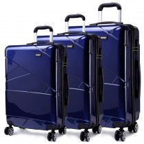 K1772L - Kono Bandage Effect Hard Shell Suitcase 3 Piece Luggage Set Navy