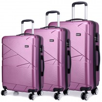 K1772L - Kono Bandage Effect Hard Shell 3 Piece Luggage Set Purple
